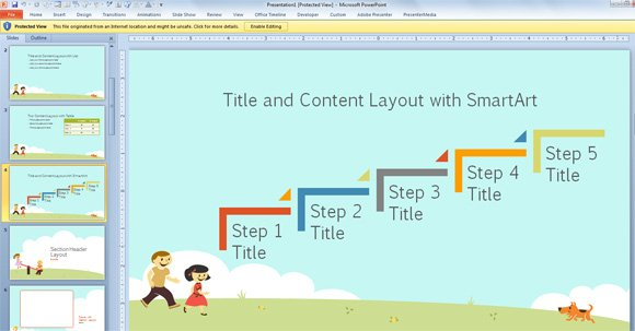 Free children powerpoint template with cartoons for powerpoint 2013 kids steps download this free toneelgroepblik Choice Image