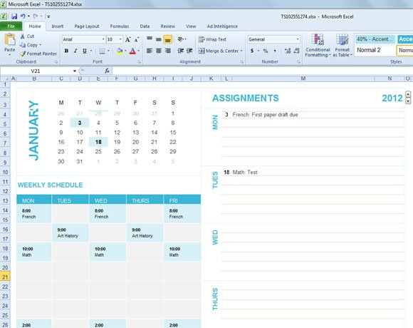 Free Student Planning Template For Excel 2007 2010