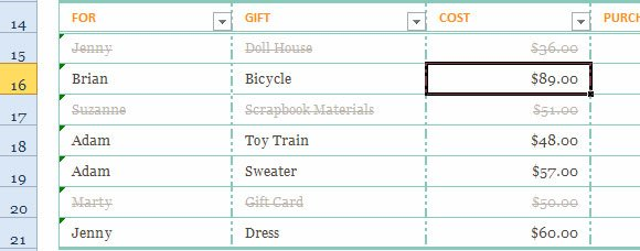 Gift List Template For Excel