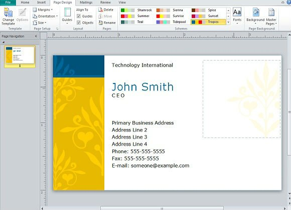 Creating Business Cards In Microsoft Publisher - Create business card template word