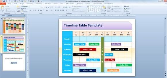 free editable schedule template for powerpoint, Modern powerpoint