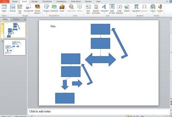 Flowchart using SmartArt in PowerPoint 2010