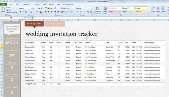 Invite List Template For Excel