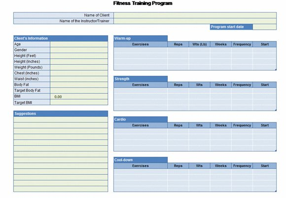 Workout chart for excel for Personal trainer workout template