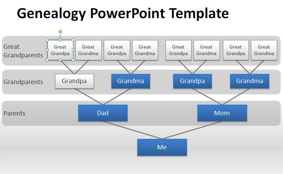 How to make a genealogy powerpoint presentation using shapes for Family tree template word 2007