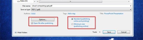 pdf options
