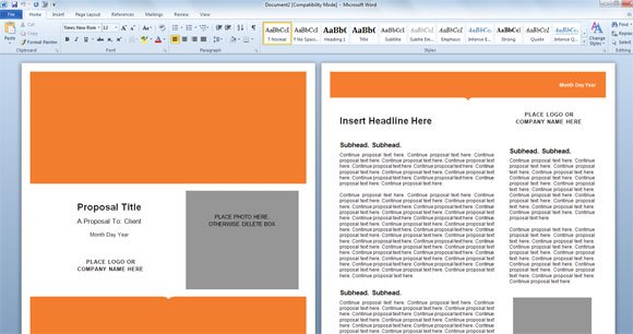 Modern proposal template for microsoft word the word template is perfect for a business proposal featuring a nice cover page with orange color and four additional design coordinated page layouts cheaphphosting