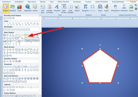 How to Draw a Pentagon Shape in PowerPoint 2010