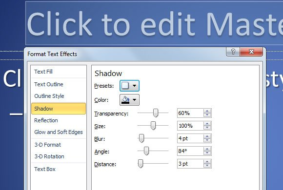 powerpoint shadow color
