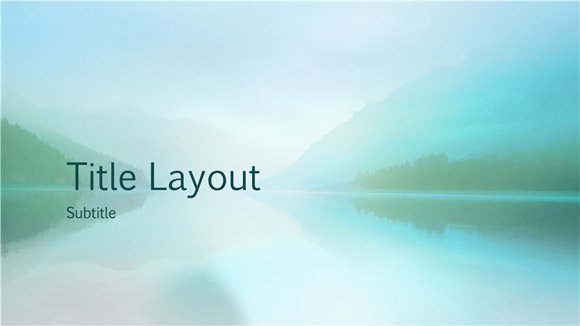 free widescreen tranquil lake and mountain powerpoint template, Modern powerpoint