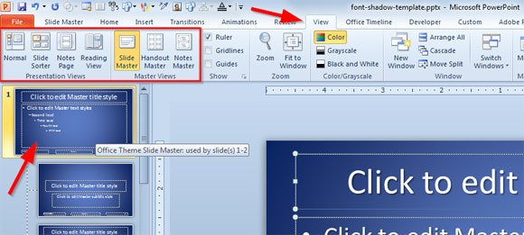 how to apply font shadow on all slides in powerpoint