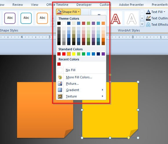 Solid Fill to Any Shape in PowerPoint 2010