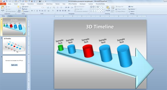 3d timeline template for powerpoint 2010 toneelgroepblik Choice Image
