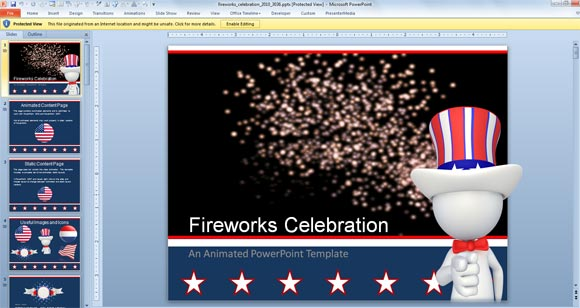 Fireworks PowerPoint Template with Animation