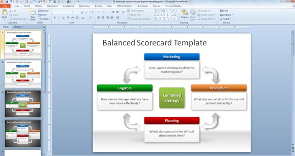 balanced scorecard powerpoint template, Modern powerpoint