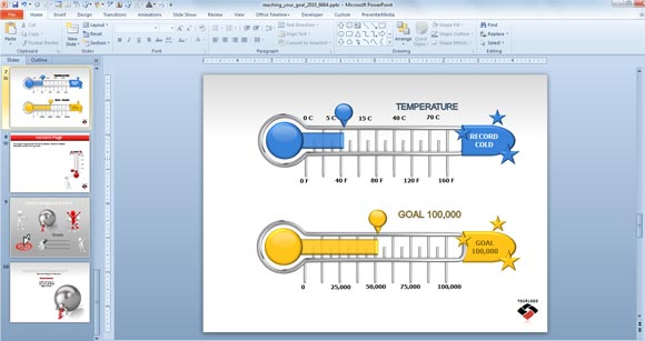 Animated goal chart template for powerpoint for Powerpoint theme vs template