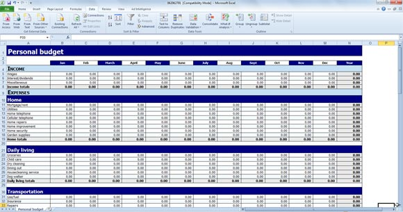 Personal budget spreadsheet template for excel.