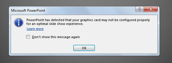 Power Point has detected that your graphics card may not be configured properly