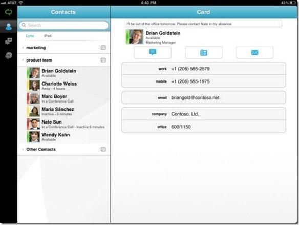 Lync on iPad