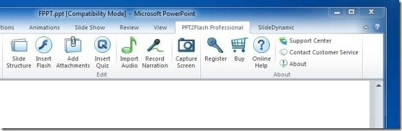 Wondershare PPT2Flash tab