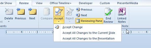 accept changed powerpoint