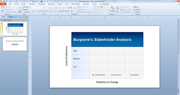 to make a burgoyne's stakeholder analysis in powerpoint 2010 for free, Presentation templates