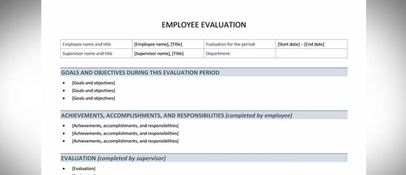Free Employee Evaluation Template For Word  Performance Review Template Word