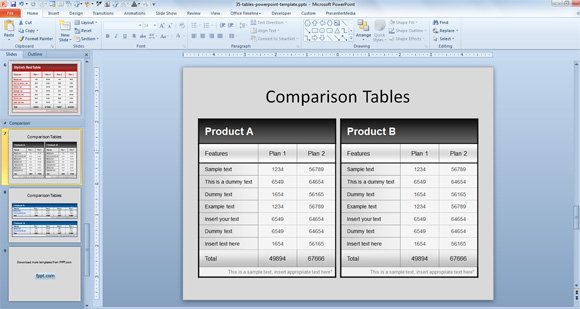 free comparison tables template for powerpoint presentations, Powerpoint templates