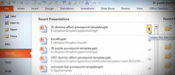 Save Time Working with Recent Documents in PowerPoint using Push Pins