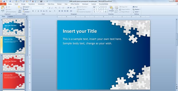 download free puzzle pieces powerpoint template for presentations, Modern powerpoint