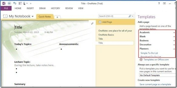Onenote 2013 templates make note taking easier across for Onenote section template
