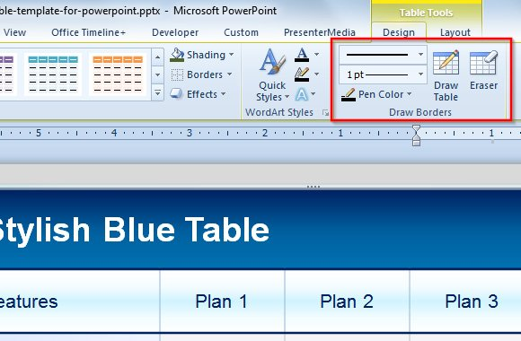 use table eraser tool in powerpoint to delete table borders