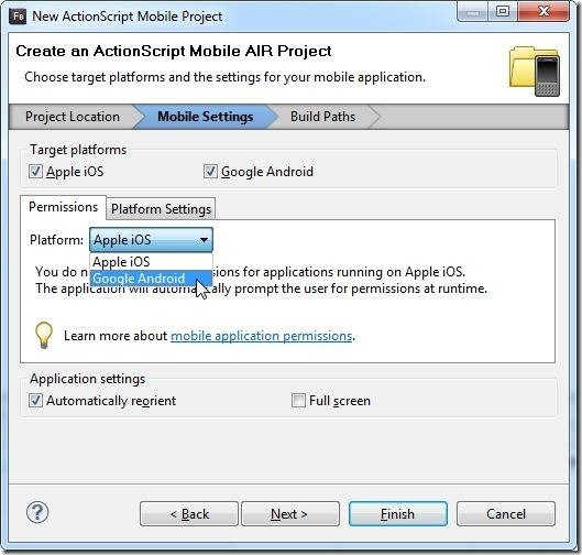 New ActionScript Mobile Project