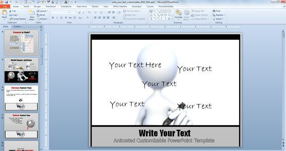 Customizable write text powerpoint template with animation toneelgroepblik Images
