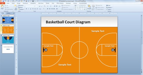 free basketball court powerpoint template, Modern powerpoint