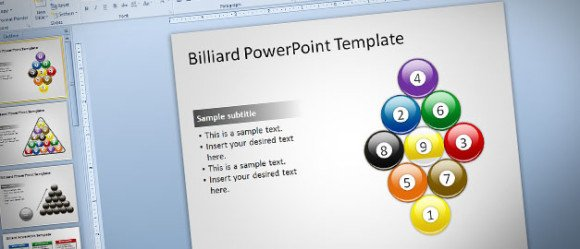 billiard powerpoint template with editable ball shapes, Powerpoint templates