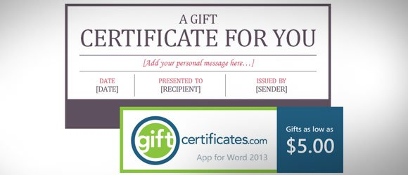 Download Free Certificate Template For Microsoft Word (Gift Card)