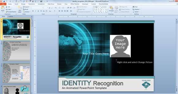 awesome identity recognition & cybercrime powerpoint template, Modern powerpoint