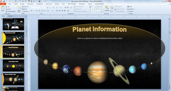 animated solar system powerpoint template for science & astronomy, Presentation templates