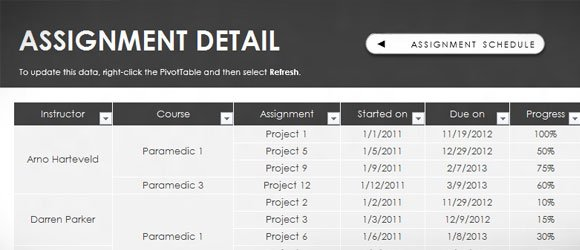 Free Assignment Template for Excel 2013