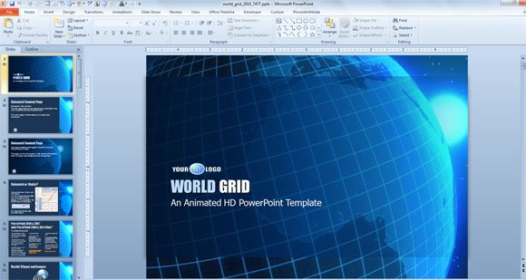4 examples of awesome professional powerpoint templates for business world grid powerpoint template download from presentermedia wajeb Gallery