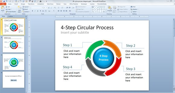 free ooda loop powerpoint presentation template & diagram, Presentation templates