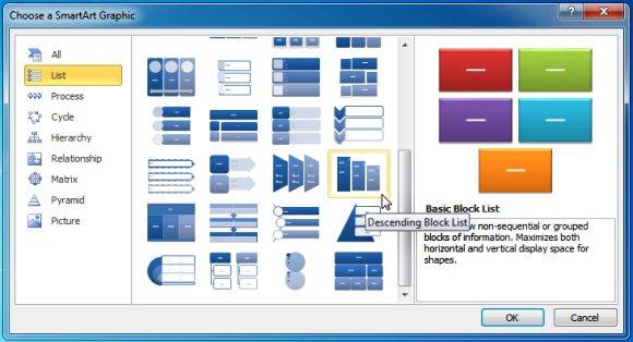 Calendar Smartart : Using descending block list smartart in powerpoint