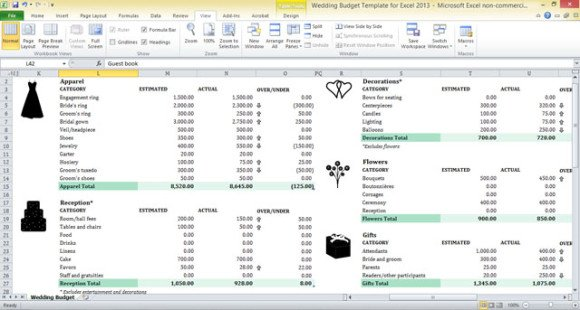 Wedding Budget Table For Excel 2017 2