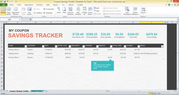 Coupon Savings Tracker Template For Excel