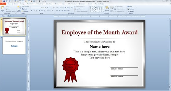 Nice Free Employee Of The Month Template For Employee Recognition In PowerPoint  Best Employee Certificate Sample