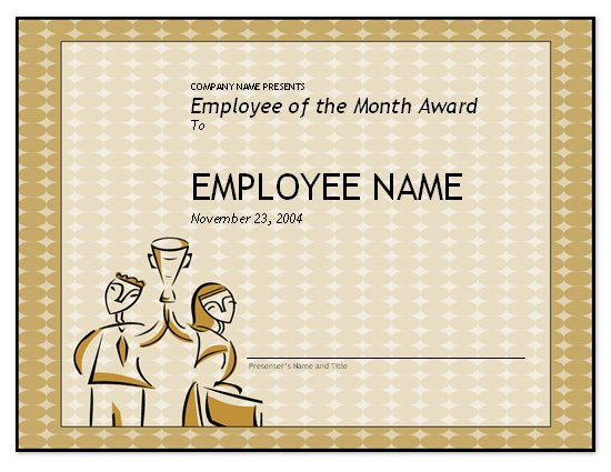 Free employee of the month template for employee for Employee of the month certificate template free download