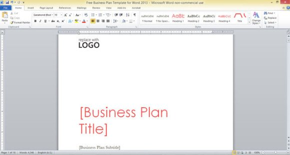 Free business plan template for word 2013 accmission Image collections