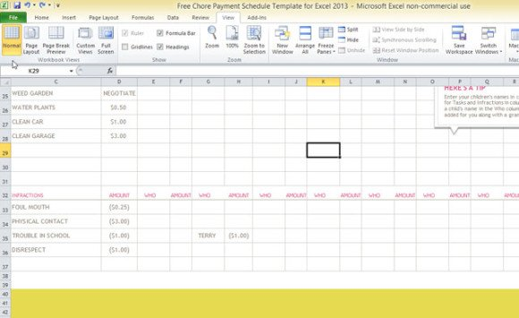 free chore payment schedule template for excel 2013. Black Bedroom Furniture Sets. Home Design Ideas