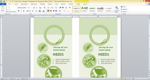 free door hanger template for business word 2013